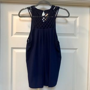Navy Blouse with Braiding Detail